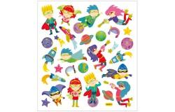 Stickers, 25x16,5 cm, ca. 28 st superhjältar