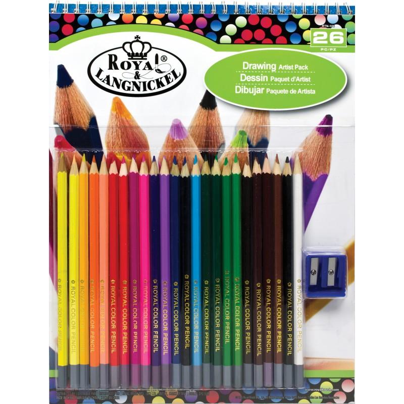 R&L Färgpennor 24 st, pennvässare och block 26 delar