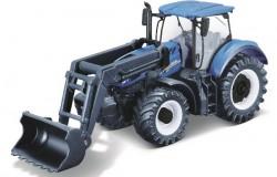 Tractor w/front loader N.H. T7.615 10cm blue