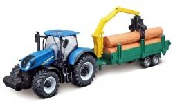 Tractor w/tree frowarder N.H. T7.615 10cm blue