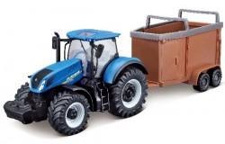Tractor w/livestock trailer N.H. T7.615 10cm blue