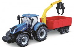 Tractor w/combination trailer N.H T7.615 10cm blue