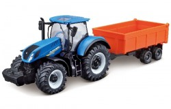 Tractor w/tipping trailer N.H T7.615 10cm blue