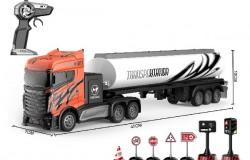 Lastbil R/C m/olietank & skilte 1:16 2,4GHz orange